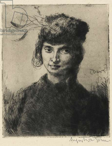 Girl with a curl, 1906 (drypoint etching)