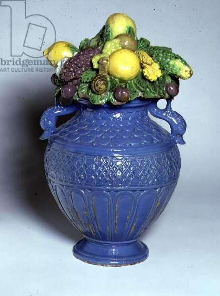 C.92a-1961 Vase with Dolphin handles and lid of moulded fruit, Italian, c.1490-1520 (tin-glazed earthenware)