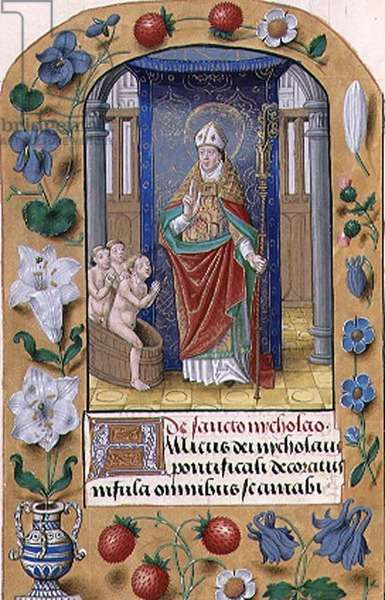 MS 1058-1975 f.174v St. Nicholas from a Book of Hours, Flemish, c.1500 (vellum)
