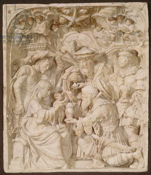 Adoration of the Magi, alabaster and painted gilt relief, Flemish, inscribed `A.H.', c.1540