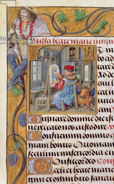 Ms.1058-1975 f36r St. Luke Painting a Portrait of the Virgin, detail from a Flemish Book of Hours, c.1500 (vellum)