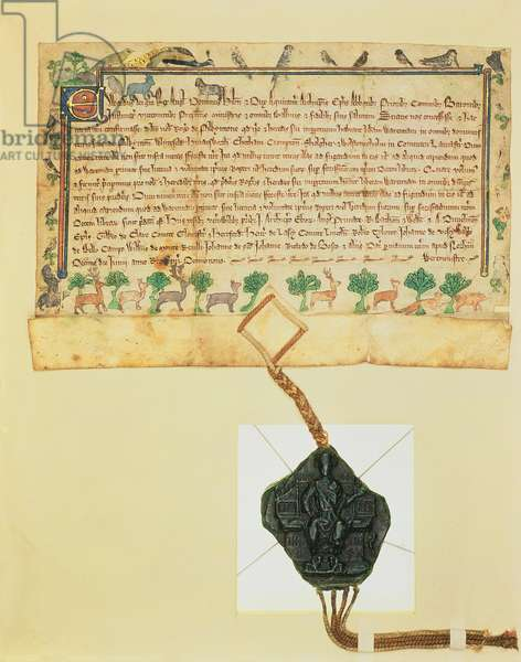 Ms.46-1980 Free Warren Charter, grant of game rights by Edward I to Roger de Pilkington, 1291