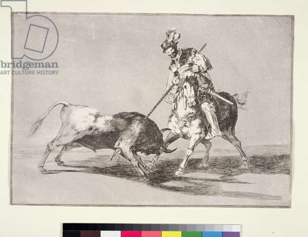 El Cid (c.1040-99) spearing another bull, plate 11 from La Tauromaquia, 1816 (etching)