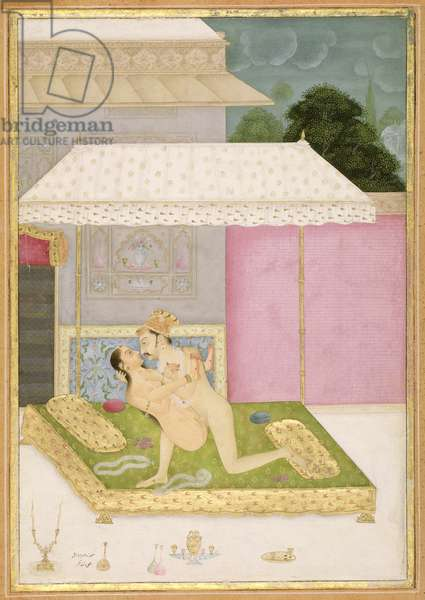 The private pleasure of Raja Bhar Mal: the couple make love on a canopied bed, outside, within the palace walls by Anand Agar, Bikaner, Rajput School, Rajasthan, c.1678-98, (gouache on paper)