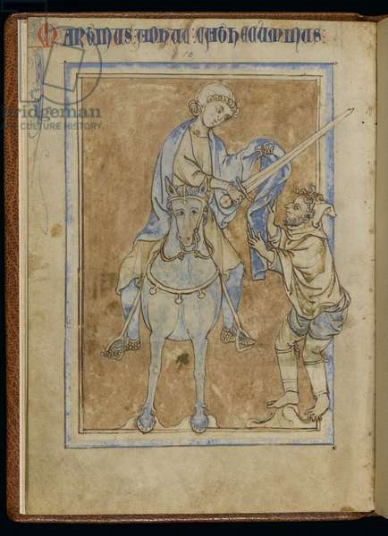 MS 370, St. Martin and the beggar, from an illuminated manuscript (pen & ink and tempera on vellum)