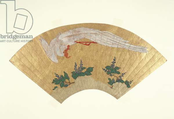 Unmounted fan: Bird diving onto snow-covered bamboo, c.1700-60 (gold & w/c on paper)