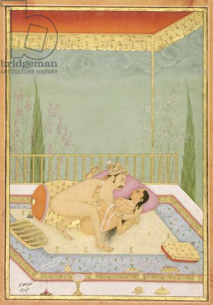 The private pleasure of Maharaja Bhim: the couple make love on a canopied bed by Govardhan, Bikaner, Rajasthan, Rajput School, c.1678-98, (gouache on paper)