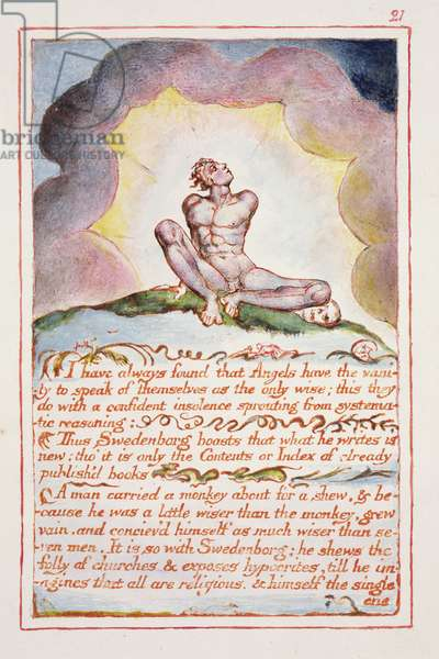 I have always found that angels have..., illustration and text from 'The Marriage of Heaven and Hell', c.1790-3 (relief etching finished in pen and watercolour)