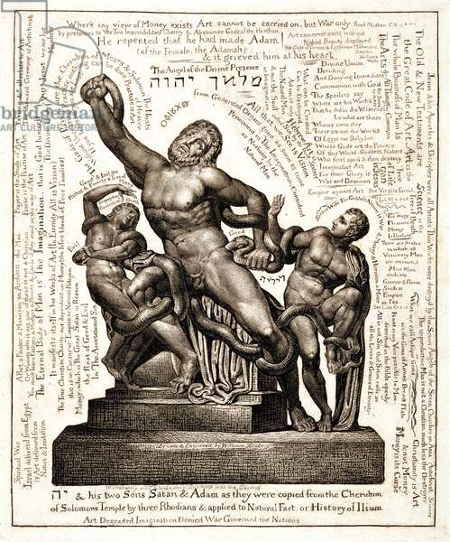 The Laocoon as Jehovah with Satan and Adam, c.1820 (line engraving)