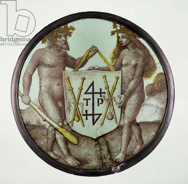 C/G.7b-1928 Stained glass roundel depicting a wild man and woman, Flemish, c.1500