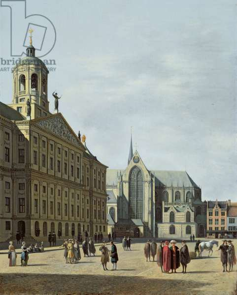 View in Amsterdam, with the facade of the Stadhuis and the Nieuwe Kerk (oil on panel)