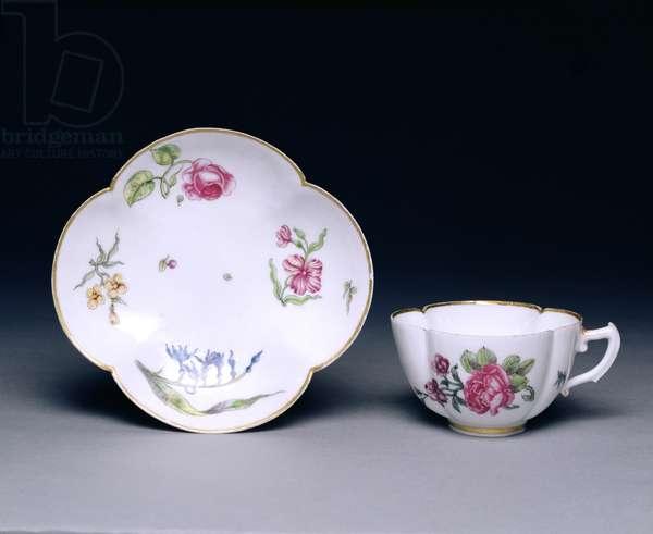 Cup and saucer, Vincennes, c.1745-52 (porcelain)