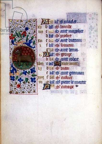 MS.76.f4v Taurus, April Calendar Page from a French Horae, c.1490 (vellum)