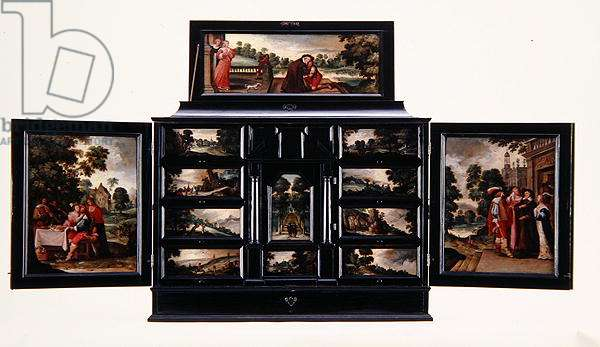 Cabinet painted with figures in landscapes and scenes from the Prodigal Son, c.1640 (ebony, ivory, mirror & polychrome pigments)