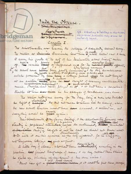 Ms 1-1911, p.1 Page from 'Jude the Obscure', c.1894 (ink on paper)
