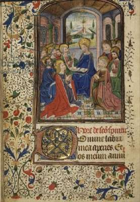 Ms 1-1974 f.12v Hours of the Holy Spirit: Pentecost, Latin with calendar, c.1450-60 (Use of Rome)