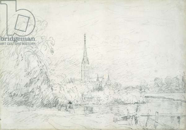 Salisbury Cathedral from the North West, 1829 (graphite on paper)