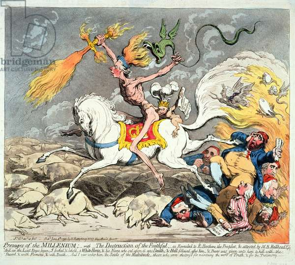 Presages of the Millennium, published 1795 (hand coloured etching)