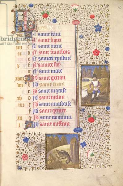 MS.74.f10r Sowing, Scorpio, Calendar Page for October from a French Horae, c.1480 (vellum)
