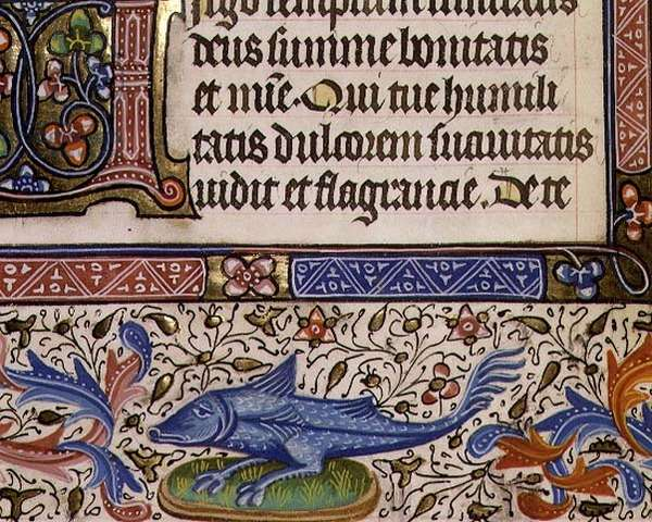 Ms 1055-1975 f.46v Floral border and a grotesque fish with legs, detail of a page from a Book of Hours, Flemish, c.1440