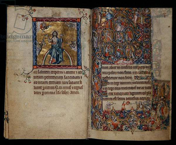 Ms 1-2005, ff.8v-9r: Christ in Judgement and the Tree of Jesse, from the Macclesfield Psalter, Use of Sarum, East Anglia, c.1330 (vellum)