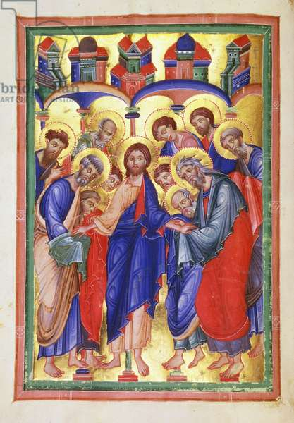 MS 36-1950 f.49v Christ amongst the apostles, from a psalter possibly made for the Duchess of Breslau, mid 13th century (vellum)