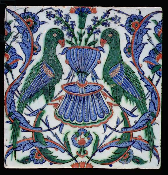 Tile with two parrots, Turkish, Isnik, 17th century