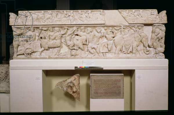The Pashley Sarcophagus, frieze showing the triumphal return of Dionysus from the East, Roman, from Arvi in Crete, c.125-150 AD (marble)