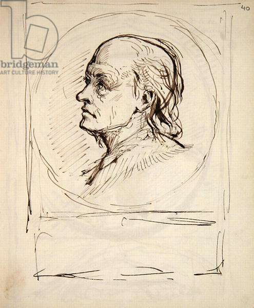 Portrait of William Blake, from a notebook used by the artist for sketches and notes (ink on paper)