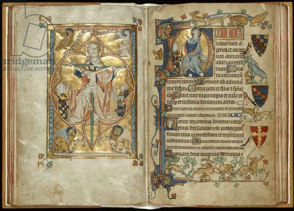 MS 242 f. 28v-29r The Throne of Mercy with patrons, Christ blessing with a patron, c.1314-30 (gold leaf & tempera on parchment)