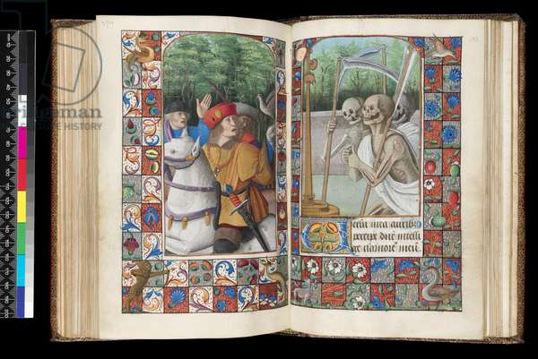 MS 92 f.132v-133r, Office of the Dead, Matins, The Three Living and the Three Dead, from a Book of Hours, western France, use of Rome, 1490-1510 (pen & ink and tempera on parchment)