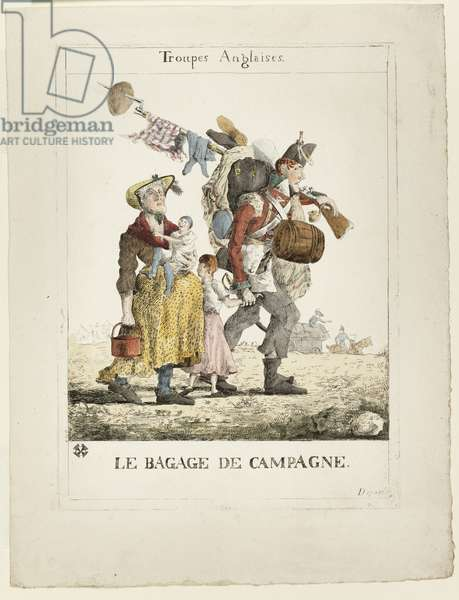 Troupes anglaises: le bagage de campagne, 1815 (hand-coloured etching)