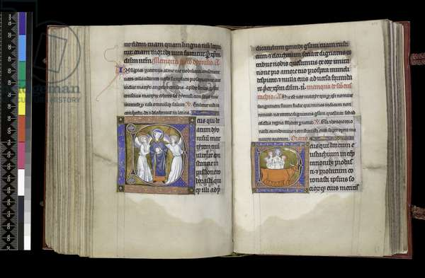 MS 300 f202v-203r, Suffrage to St Denis and Suffrage to St Eustace, from the Psalter and Hours of Isabella of France, Paris, c.1265-70 (pen & ink and tempera on parchment)