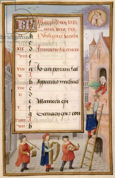 Ms 1058-1975 f5r Young Man and Musicians Serenade a Lady, illuminated calendar page for May, from a Flemish Book of Hours, c.1500 (vellum) (see detail 65990)