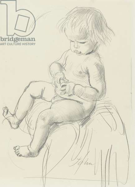 Portrait of Romilly John sitting on the lap of his mother (?) 1908 (graphite on paper)