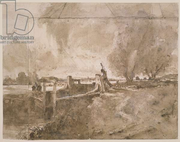 PD.11-1951 Study for 'The Lock', c.1826 (pencil and wash on paper)