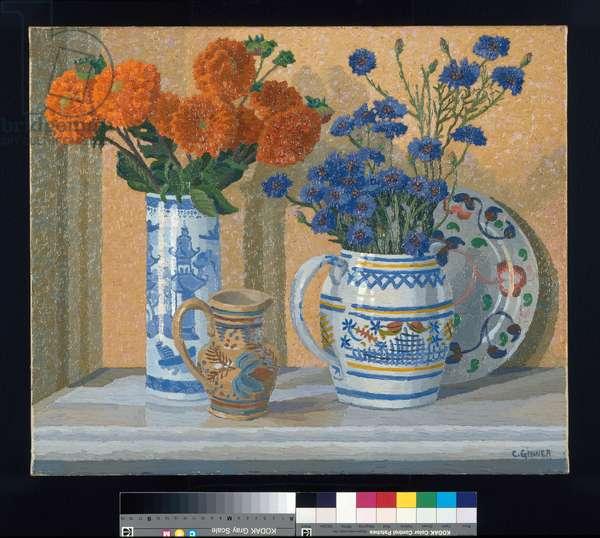 Dahlias and Cornflowers, 1929 (oil on canvas)
