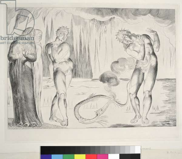 The Circle of Thieves: Buoso Donati Attacked by the Serpent, Inferno, Canto XXV, illustration to the 'Divine Comedy' by Dante Alighieri, 1827 (engraving)