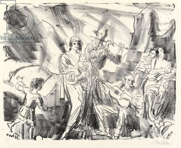 Strolling Musicians, 1921 (litho)