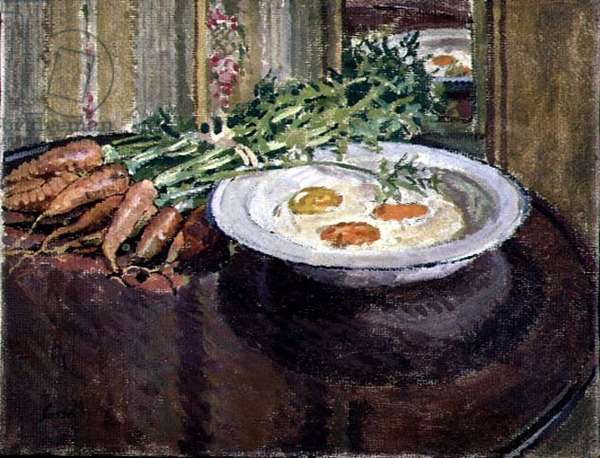 Still Life with Eggs and Carrots (oil on canvas)