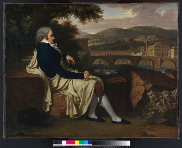 Allen Smith seated Above the River Arno, contemplating Florence, 1797 (oil on canvas)