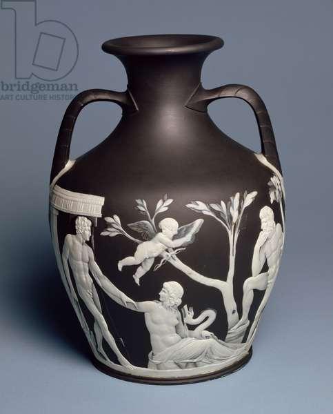 Portland Vase, owned by Erasmus Darwin, copy of original in British Museum, Etruria, c.1789-90 (black jasper with applied white jasper)