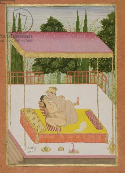 The private pleasure of Mirza Raza Jai Singh, by Nathu Lal, Bikaner, Rajasthan, Rajput School, c.1678-98, (gouache on paper)