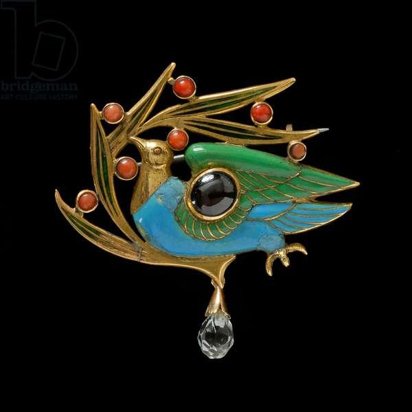 The Blue Bird Brooch, 1899 (gold, enamel & coral)