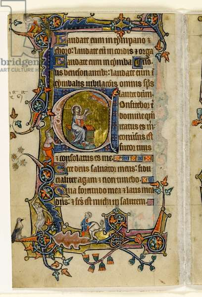 MS 1-2005, fol. 207v: Isaiah Praying, historiated initial 'a' from the Macclesfield Psalter, Use of Sarum, East Anglia, c.1330 (vellum)