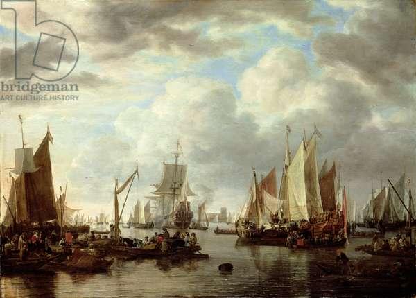 Shipping before Dordrecht, 1651 (oil on panel)