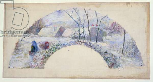 Garden under snow, design for a fan, c.1885 (w/c & bodycolour over black chalk on fine linen)