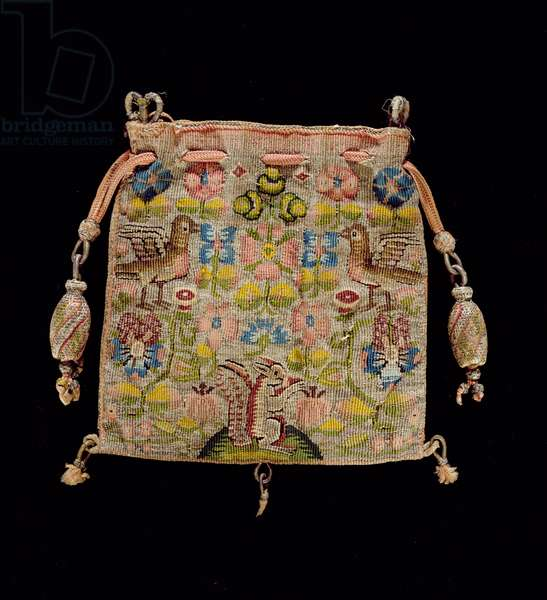 Tapestry Purse, depicting Birds, Squirrels and Flowers, English, 17th century (coloured silks and metallic threads)