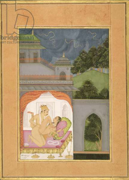 A couple making love show the proper posture for female type: Chitrini; male type: Mriga by the artist Chitraman, Bikaner, Rajasthan, Rajput School, c.1678-98, (gouache on paper)