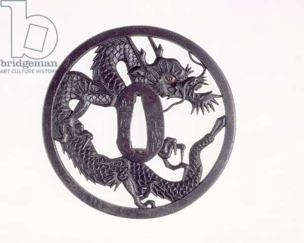 Tsuba with cut-out dragon (iron)
